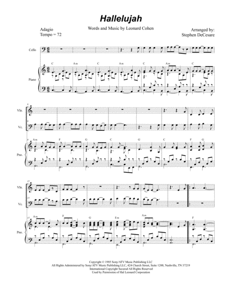 Hallelujah (Duet for Violin and Cello)