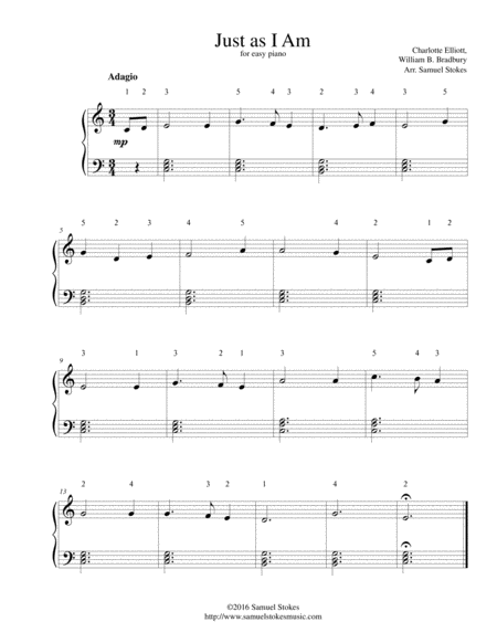 Just as I Am - for easy piano