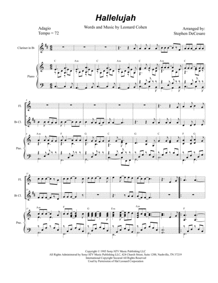 Hallelujah (Duet for Flute and Bb-Clarinet)