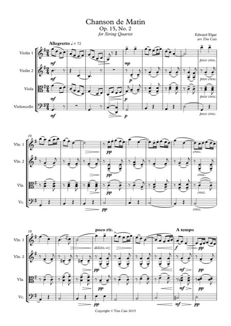 Elgar: Chanson de Matin - String Quartet