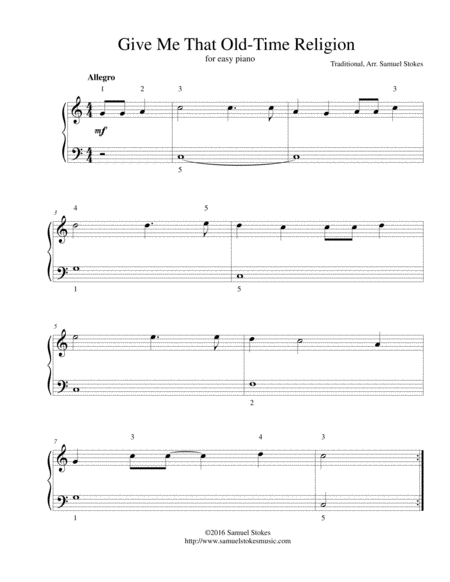 Give Me That Old Time Religion - for easy piano