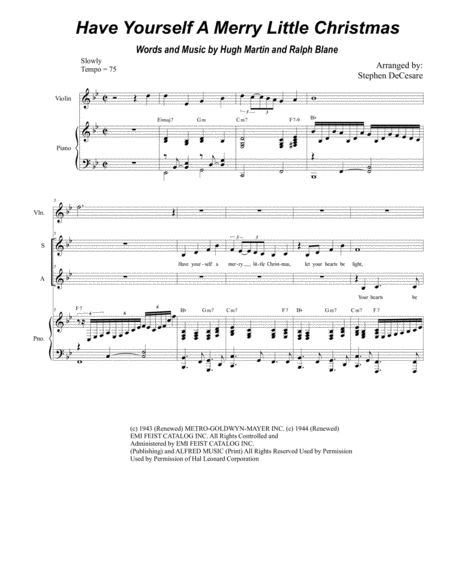 Have Yourself A Merry Little Christmas (Duet for Soprano and Alto Solo)