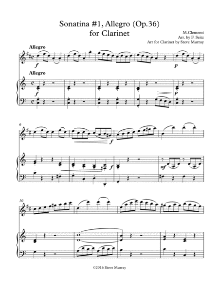 Sonata #1, Allegro for Clarinet