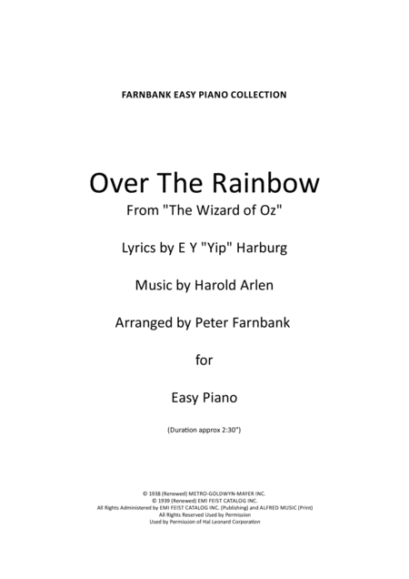 Over The Rainbow (from The Wizard Of Oz) - EZ Piano