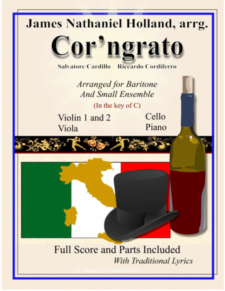 Core ngrato Neapolitan Song Arranged for Baritone and Ensemble in the key of C