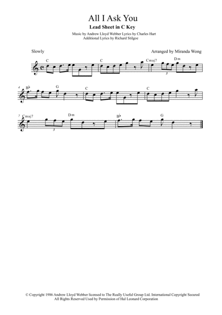 All I Ask Of You - Violin or Flute Solo (With Chords)