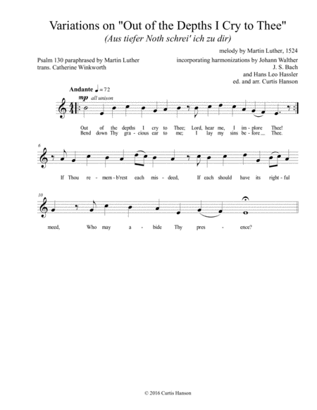 Out of the Depths I Cry to Thee (SATB)