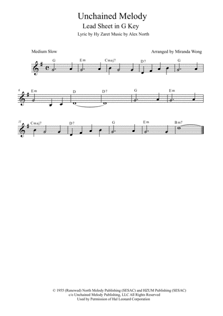 Unchained Melody - Lead Sheet in G Key (With Chords)