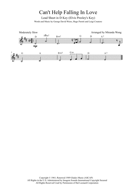 Can't Help Falling In Love - Lead Sheet in D Key (With Chords) Elvis Presley