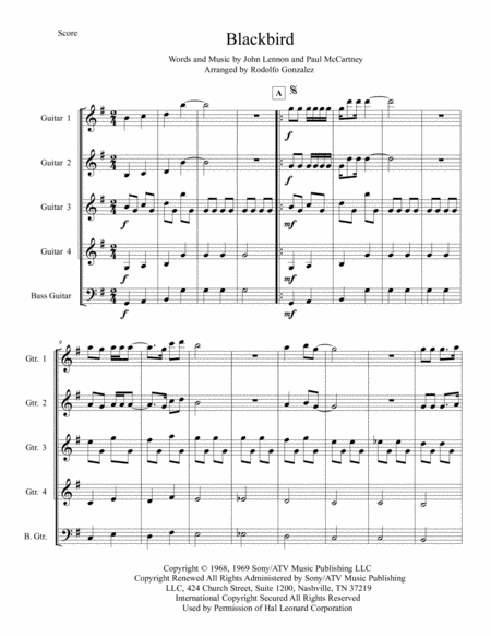 Blackbird for Guitar Quartet and Bass Guitar
