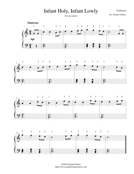 Infant Holy, Infant Lowly - for easy piano