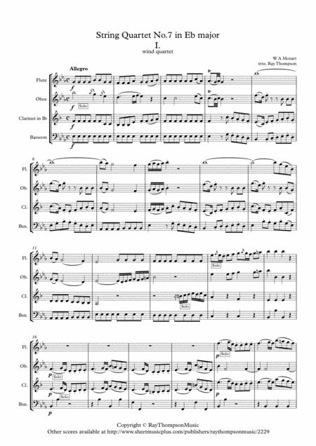 Mozart: String Quartet No.7 in Eb major K160 Mvt.1 - wind quartet