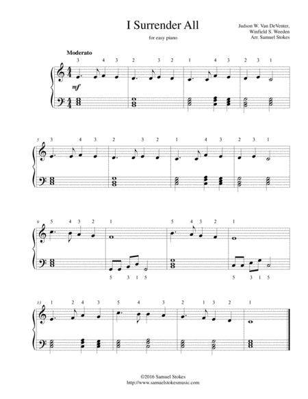 I Surrender All - easy piano