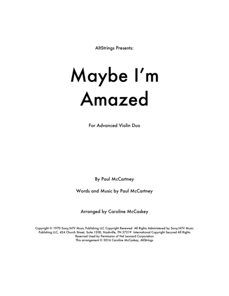 Maybe I'm Amazed - Violin Duet