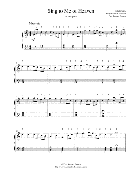 Sing to Me of Heaven - for easy piano