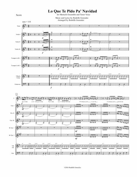 Lo Que Te Pido Pa' Navidad for Mariachi Ensemble and Tenor Voice