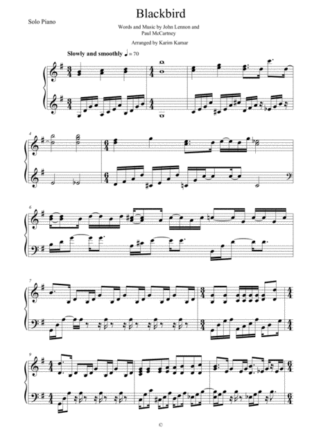 Blackbird - Solo Piano