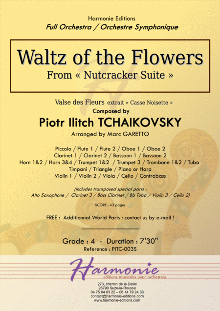 Waltz of the Flowers - Nutcracker - TCHAIKOVSKY - Arranged for Full Modern Orchestra by Marc GARETTO