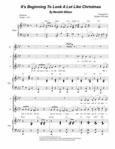 It's Beginning To Look Like Christmas (Duet for Soprano and Alto Solo)