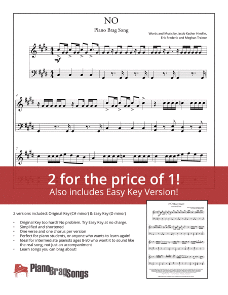 No (Simplified and Easy Key Piano Solos) - Meghan Trainor