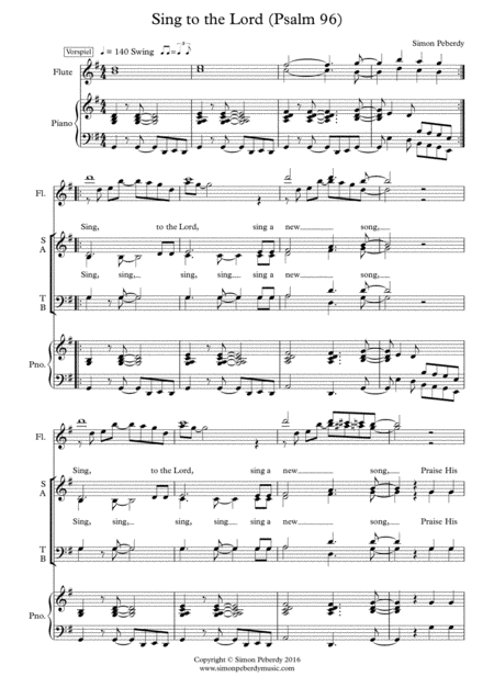 Sing to the Lord a New Song Psalm 96 (for SATB rhythmical choir, piano, optional 2 flutes)