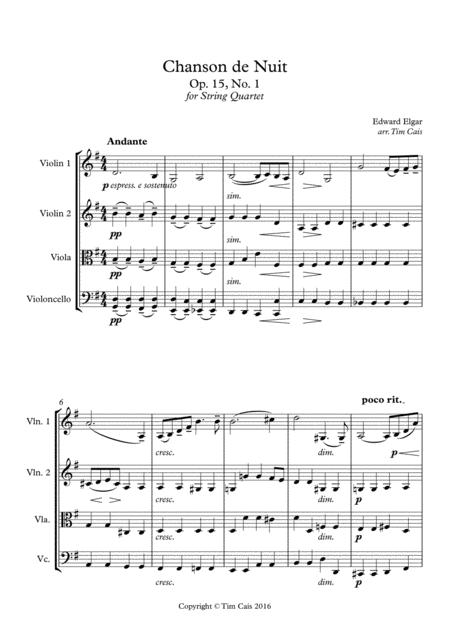 Elgar: Chanson de Nuit - String Quartet