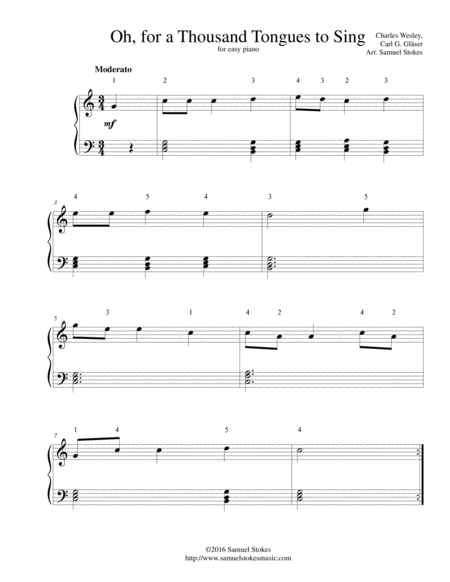Oh, for a Thousand Tongues to Sing - for easy piano