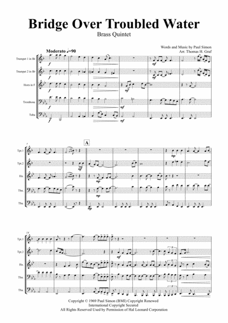 Bridge Over Troubled Water - Simon&Garfunkel - Brass Quintet
