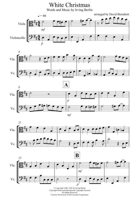 White Christmas for Viola and Cello Duet