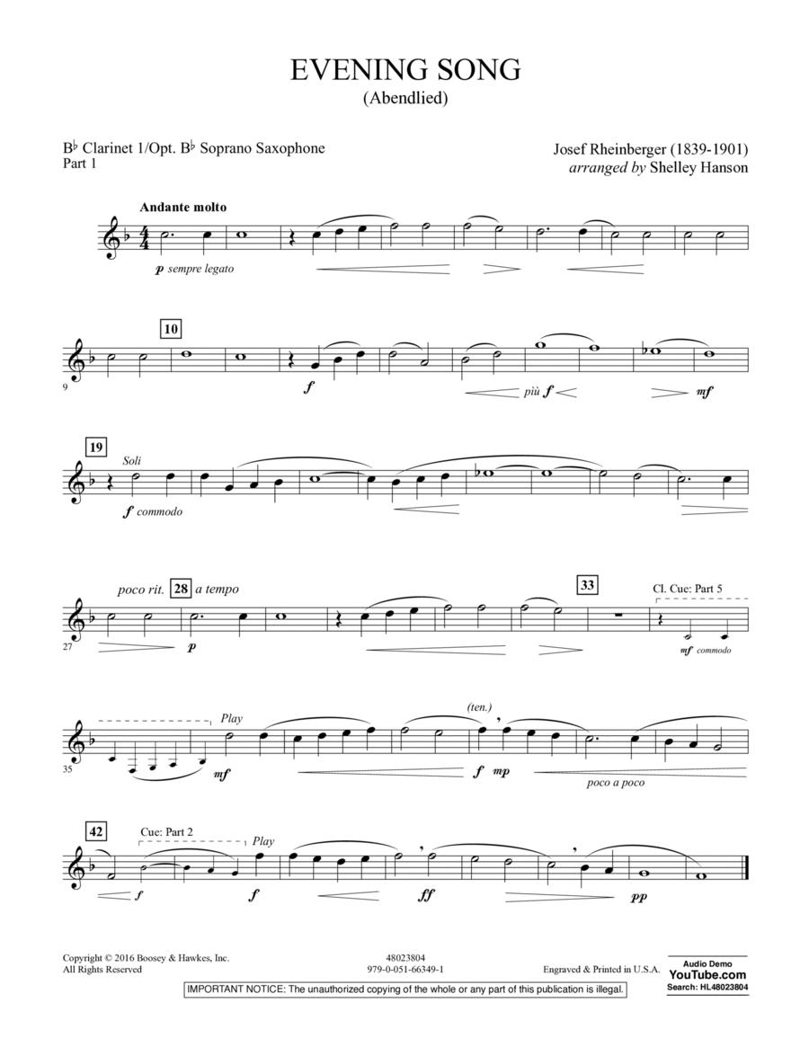 Evening Song (Abendlied) - Pt.1 - Clarinet 1/Soprano Sax.