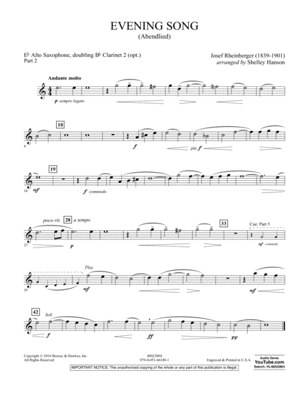 Evening Song (Abendlied) - Pt.2 - Eb Alto Saxophone