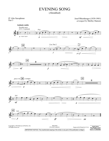 Evening Song (Abendlied) - Pt.3 - Eb Alto Saxophone
