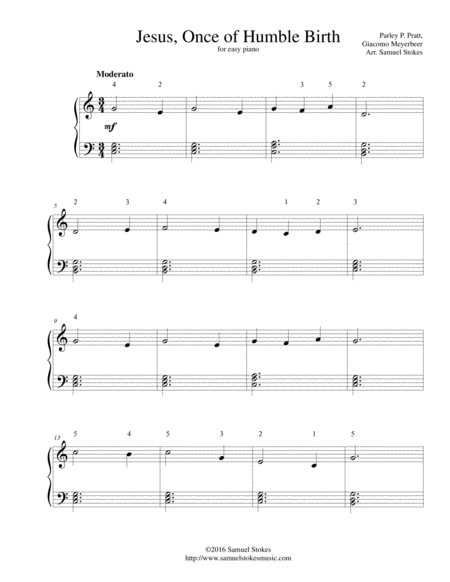 Jesus, Once of Humble Birth - for easy piano