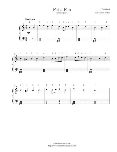 Pat-a-Pan (Willie, Bring Your Little Drum) - for easy piano