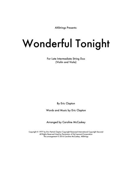 Wonderful Tonight - Violin and Viola Duet