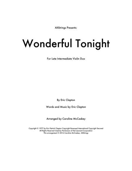 Wonderful Tonight - Violin Duet
