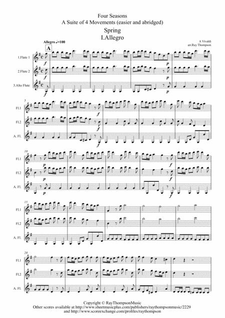 Vivaldi: Four Seasons: A Suite of 4 Movements (easier and abridged) - flute trio
