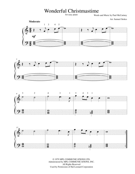 Wonderful Christmastime - for easy piano