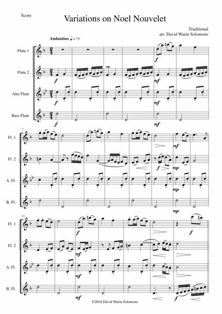 Variations on Noel Nouvelet for flute quartet