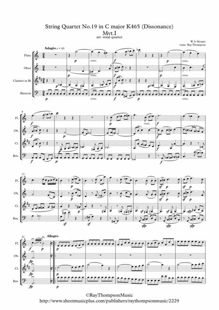 Mozart: String Quartet No.19 in C major K465 (Dissonance) Mvt.I Adagio/Allegro - wind quartet