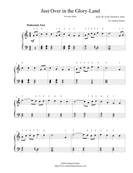 Just Over in the Glory-Land - for easy piano