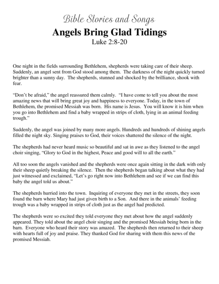 Angels Bring Glad Tidings (Bible Stories and Songs)