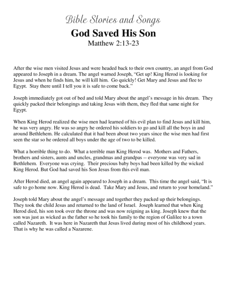 God Saved His Son (Bible Stories and Songs)