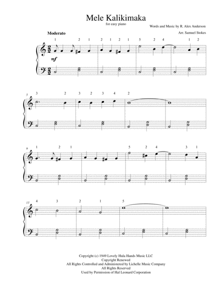 Mele Kalikimaka (The Hawaiian Christmas Song) - for easy piano
