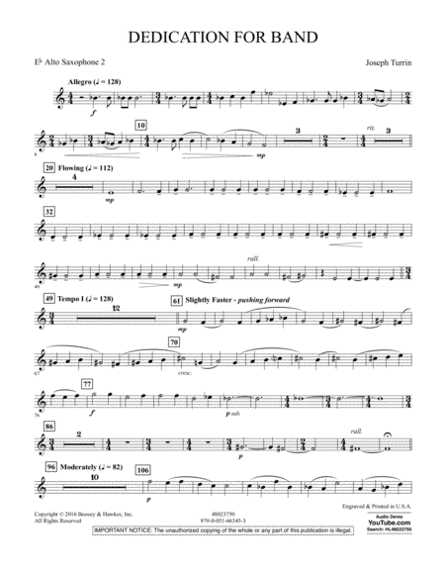 Dedication for Band - Eb Alto Saxophone 2
