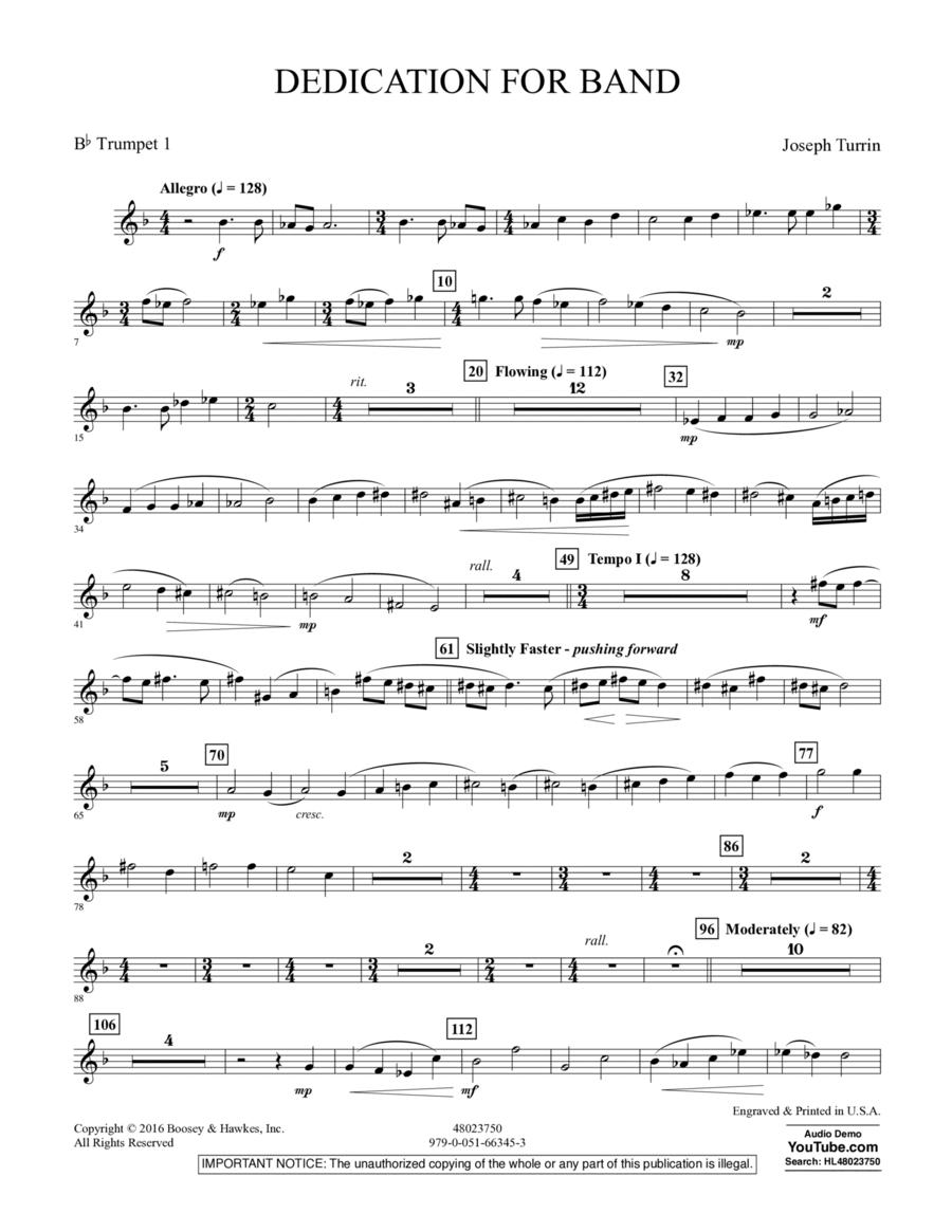 Dedication for Band - Bb Trumpet 1