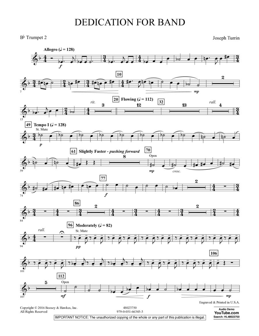Dedication for Band - Bb Trumpet 2