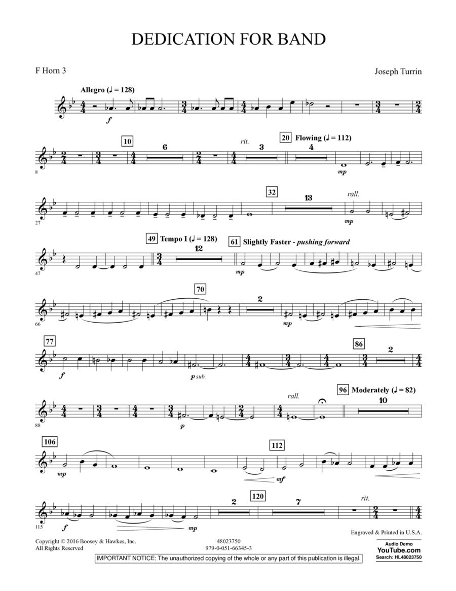 Dedication for Band - F Horn 3