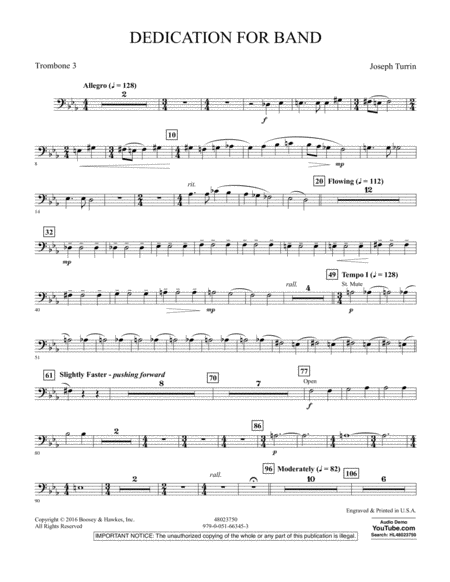 Dedication for Band - Trombone 3