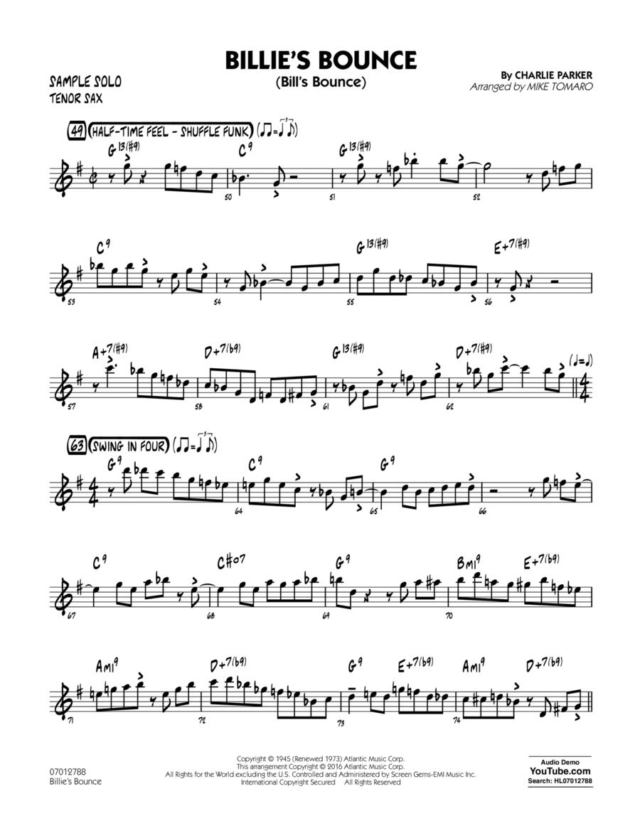 Billie's Bounce - Tenor Sax Sample Solo